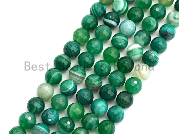 High Quality Faceted Green Banded Agate beads, 6mm/8mm/10mm/12mm Green Agate Gemstone beads, Natural Agate Beads, 15.5inch strand, SKU#U447