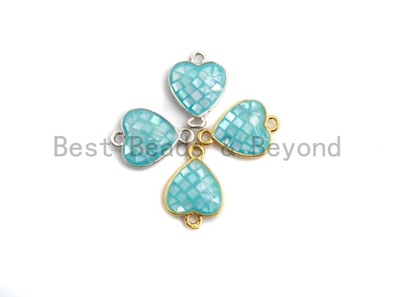 100% Natural Shell Aqua Blue Heart Shape Connector, Gold/Silver Plated, Natural Shell Beads, 10x14mm,SKU#Z275