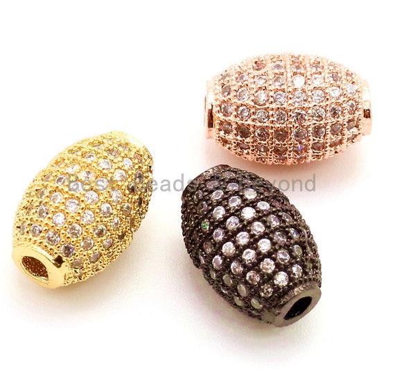 12x8mm CZ Micro Pave Oval Spacer Beads with Clear Crystal for Bracelet/Necklace, Cubic Zirconia Beads, Bracelet Charms, sku#G34
