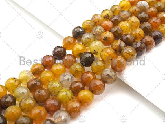 Golden Brown Speical Cut Faceted Fire Agate Beads, 6mm/8mm/10mm/12mm Faceted Fire Agate, 15.5'' Full Strand, SKU#UA192