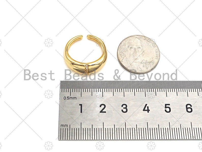 Open Ring 18K Gold Thick Band Adjustable Ring Stacking Ring CZ Pave Ring Pave Gold Ring,sku#X182 Statment Ring