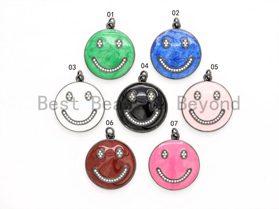NEW Colorful Enamel Oil Drop Emoji Smiley Face Round Pendant,Cubic Zirconia Round Pave Pendant Charm Beads, Pave Pendant,  25x28mm, SKU#F562