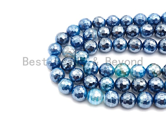 "Etsy Exclusive Mystic Plated Faceted Agate Beads,6mm/8mm/10mm/12mm, Plated Blue Agate Beads,15.5"" Full Strand, SKU#U442"