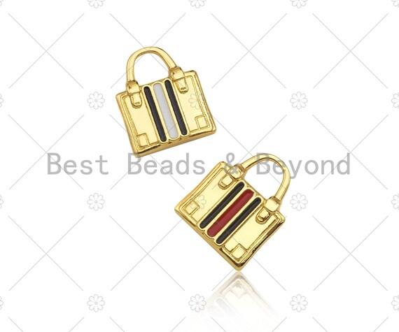 Colorful Enamel Lady Bag Shape Pendant/Charm,18K Dainty Gold Charm, Necklace Bracelet Charm Pendant,16x20mm, Sku#LK276