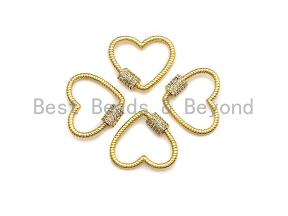 Matte/Shiny Clear CZ Micro pave String Heart Shape Clasp, CZ Pave Clasp, 24K Gold Carabiner Clasp, 21mm, sku#H199