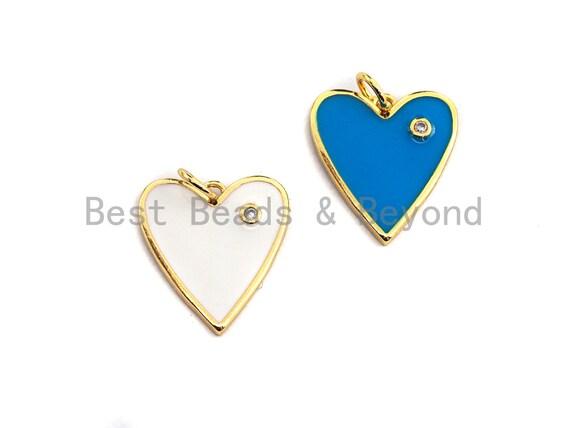 White Turquoise Blue Enamel heart Pendant with Gold Finish, Enamel heart charms, heart pendant, 16x18mm,sku#Z412