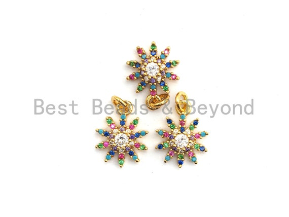 CZ Colorful Micro Pave Sunflower Pendant with big CZ, Flower Shaped Pave Pendant, Gold plated, 10x13mm, Sku#F738