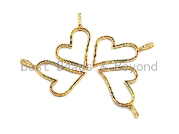 PRE-SELLING Colorful CZ Micro Pave Heart Shape Pendant, Cz Pave Bracelet Necklace Pendant in Gold Finish,35x38mm, sku#F905