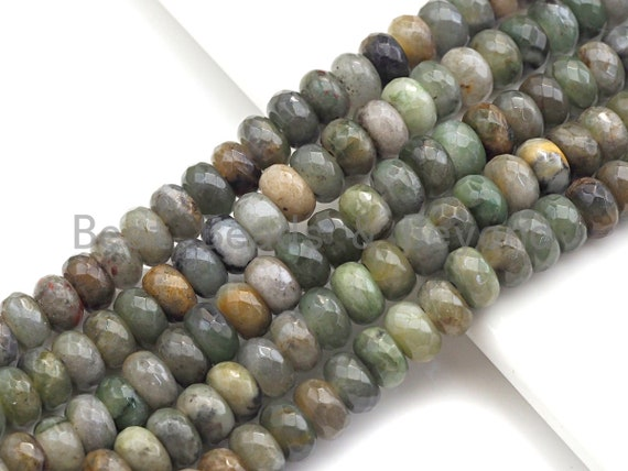 "2mm Large Hole Natural Jade Beads, Rondelle Faceted 6x10mm/5x8mm, 8"" Long Strands, sku#U710"