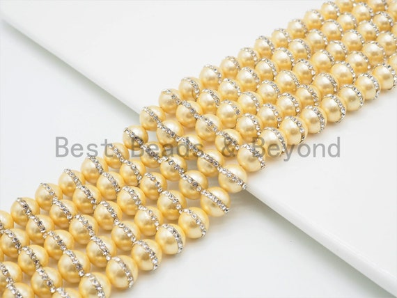 6mm/8mm/10mm/12mm Round Gold Pearl with rhinestone inlaid, Plated White Round Mother of Pearl Beads, 15.5inch Full strand,SKU#V31