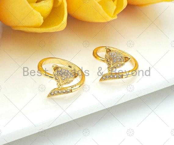 CZ Micro Pave Fox Head Shape Open Ring,18K Gold Filled Fox Ring, Adjustable Ring, Fox Ring, 20mm,Sku#X203