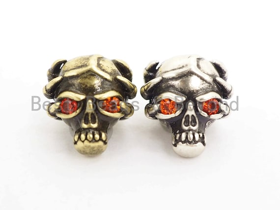 Antique Ogrish Red Eye Skull Bead, CZ Pave Skull Spacer Beads, Men's Bracelet Beads, Skull Mask Charm, 10x11mm, 1pc, sku#Y138