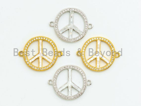 CZ Micro Pave Sign Peace Sign Connector with Mop Shell, Cubic Zirconia Space Connector, CZ mother of pearl Charm 18x23mm, 1pc,SKU#Z31