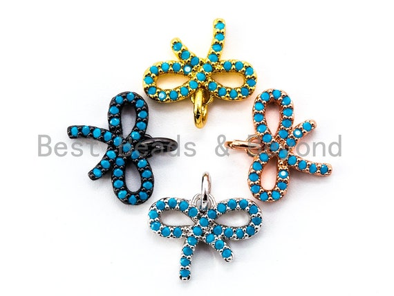 1pc/2pcs, CZ Micro Pave Turquoise Bowknot Pendant/Charm, Blue CZ Charm in Gold/Silver/Black Finish for Necklace Bracelet, 11x14mm, sku#F337