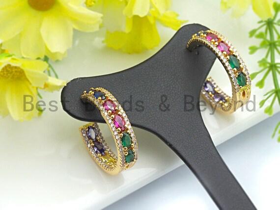 PRE-SELLING Baguette Rainbow CZ Micro Pave Huggie Earrings,Cz micro pave earrings, Hoop Earrings, Minimalist Hoops,6x27mm, sku#J130
