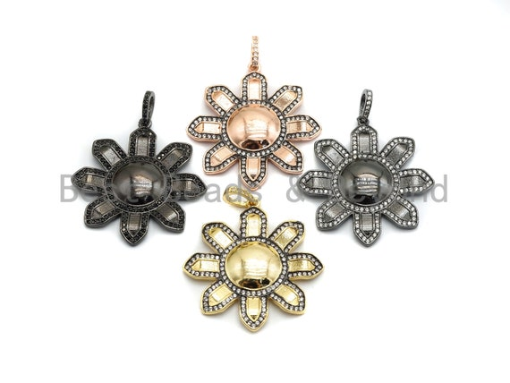 PRE-SELLING 36x39mm CZ Micro Pave Flower Pendant/Charm, Cubic Zirconia Pave Floral Pendant in Gold Rose Gold Black Sliver Finish, sku#F663
