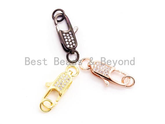 CZ Micro Pave Small Lobster Claw Clasp, Cubic Zirconia Clasp, 10x5mm,sku#H44