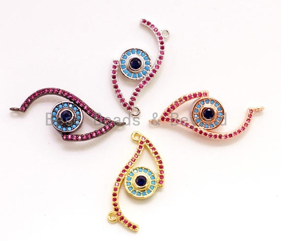 CZ Micro Pave Fuchisa Half Evil Eye Connector for Bracelet/Necklace, Cubic Zirconia Space Connector, Jewelry Findings,11x30mm, sku#E23