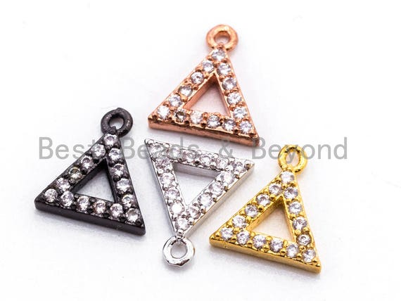 CZ Micro Pave Small Triangle Pendant/Charm, Cubic Zirconia Charm, Fashion Jewelry Findings, Gold/Silver/Rose Gold/Black Color 8x9mm, sku#B75