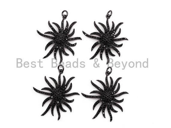 Black CZ Pave On Black Micro Pave Flower Charm Beads, Flower Beads,29x32mm, sku#F390