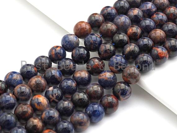"Gorgeous Orange Sodalite Beads, 8mm/10mm Round Smooth, Natural Oragne Sodalite Beads, 15.5"" Full Strand, sku#U620"