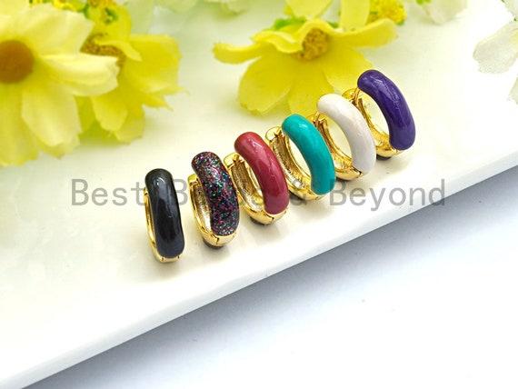 Enamel Gold Hoop Earring, Black/White/Turquoise/Red/Rainbow/Purple Huggie Earring, Color Hoops, Huggies Earrings, 5x16mm,sku#J88