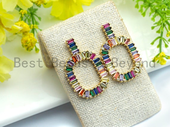 PRE-SELLING Baguette Clorful CZ Micro Pave Stud Earring,Oval Rainbow Shape Earrings, Colorful Cz micro pave earrings,24x37mm,sku#J129