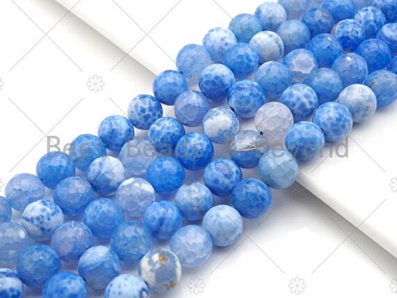 "Natural Blue Fire Agate Beads, 8mm/10mm/12mm Blue Fire Agate, 15.5"" Full Strand, sku#UA113"