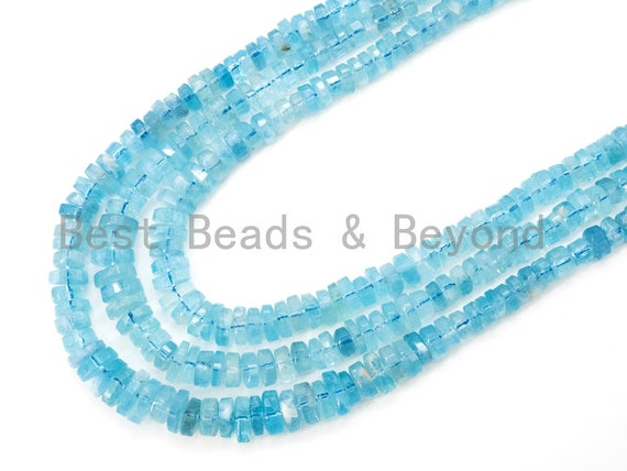 Top Quality Aquamarine Graduated 7mm to 14 mm Rondelle Faceted Beads, Clear Blue Gemstone Beads, Full Strand, SKU#U27