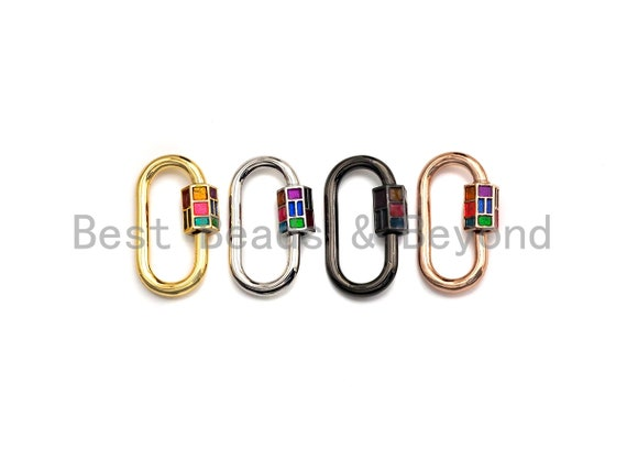 Preselling Colorful Enamel pave Oval Shape Clasp, Enamel Pave Clasp, Gold/Silver/Rose Gold/Gunmetal Carabiner Clasp, 16x28mm, sku#H229