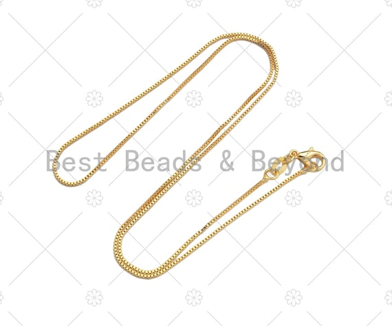 24K Gold Finished Box Chain Necklace, 1mm/2mm Thin Box Chain Necklace, 17.5 inch with Spring Lobster Clasp, sku#JD07
