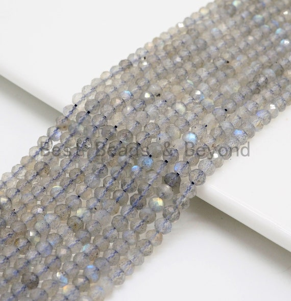 High Quality Natural Labradorite Rondelle/Round Faceted beads,2x3mm/4mm/5mm Sparkle Gemstone Beads, Tiny beads, 15.5inch strand, SKU#U370