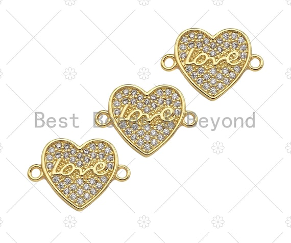 CZ Micro Pave Love Word On Heart Shape Connector, Cubic Zirconia Heart Connector Beads, 18K Gold Bracelet Connector, 14x19mm, Sku#LK314