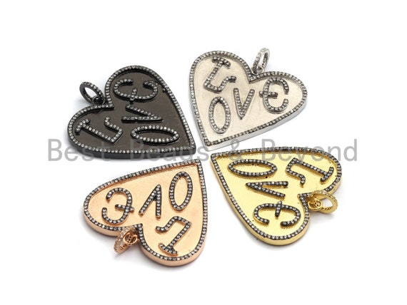 PRE-SELLING Large Cz Micro Pave Heart With LOVE Pendant,Cubic Zirconia Pendant/Charm,Gold/Black/Silver/Rose Gold,41mm, sku#F630