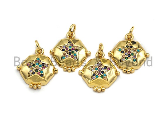 PRE-SELLING CZ Colorful Micro Pave Hexagon Gold Five Point Star Pendant, Gold Pave Pendant, Gold plated, 15x17mm, Sku#F871