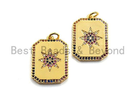 PRE-SELLING CZ Colorful Micro Pave Rectangle with Eight Pointed Star Pendant, Rectangle Tag Shaped Pave Pendant,Gold plated,17x24mm,Sku#F873