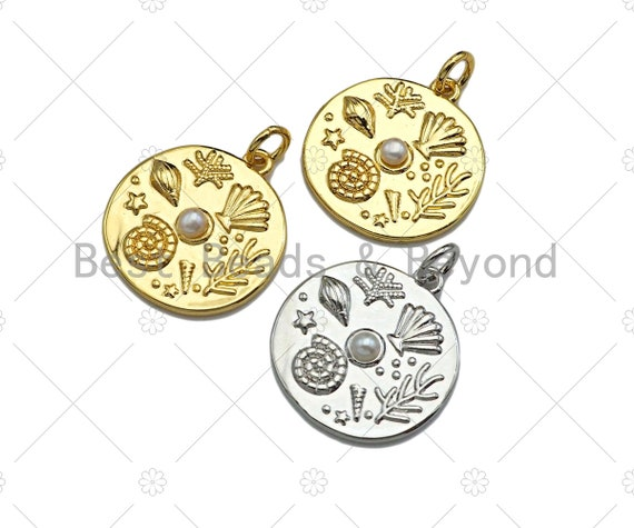 CZ Micro Pave Underwater World On Round Coin Pendant/Charm,Cubic Zirconia Charm, Sheell Snail Pearl,18x19mm, sku#L400
