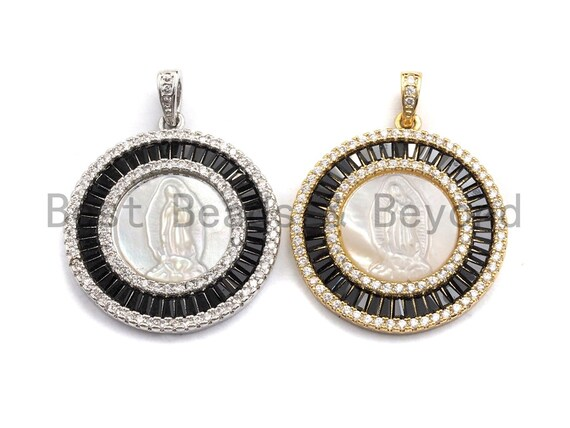 Pre-Selling Black CZ Micro Pave Virgin Mary Pendant, Black Cubic Zirconia Pendant, Silver/Gold plated, Religious Jewelry, Sku#F882