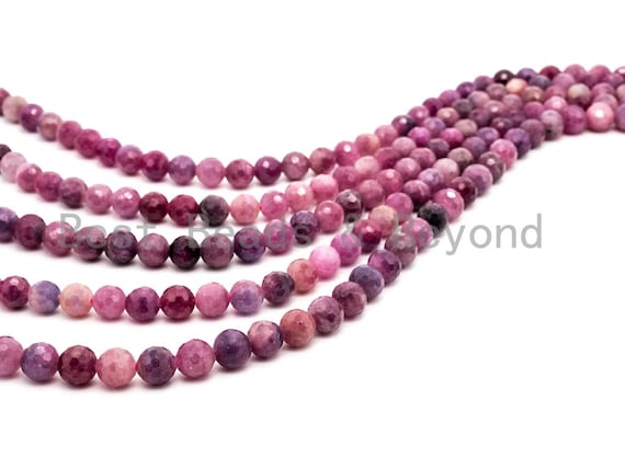 High Quality Natural Ruby beads, 4mm/6mm/8mm/10mm, Faceted Round Ruby Gemstone Beads, 15.5inch strand, SKU#U227