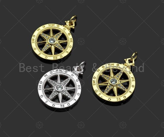 CZ Micro Pave Compass Star On Round Coin Pendant/Charm, Compass Star Cubic Zirconia Charm,Necklace Bracelet Charm Pendant,18x27mm,sku#L434