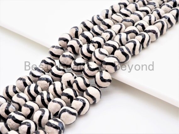 Dzi Black Band Faceted Round Beads,  Zebra Striped Tibetan Agate, 6mm/8mm/10mm/12mm beads, Agate Gemstone Beads, 15.5inch strand, SKU#U339