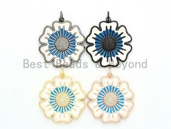 44x47mm LARGE Enamel Artisan Vintage Flower Pendant,CZ Micro Pave Oil Drop Flower pendant,Enamel pendant,Enamel Jewelry,sku#F581