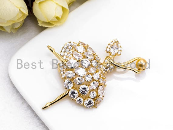 CZ Micro Pave Ballerina Dancer Brooch/ Pin/Penant with 6mm Round Shell Pearls ,Gold plated, Pave Dancer Brooch Pin Jewelry, 38x56mm, Sku#P42