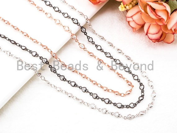 1 Foot/Yard-Clear CZ Pave Heart Shaped Beaded Chain-4mm Cubic Zirconia Beads-Silver Rose Gold Gunmetal-Bezel Rosary Chain, sku#E349