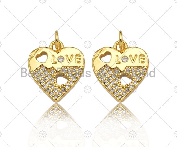 CZ Micro Pave Love Word with Hollow Out Heart On Heart Pendant,18K Gold Charm, Necklace Bracelet Charm Pendant,14x16mm,Sku#LK307