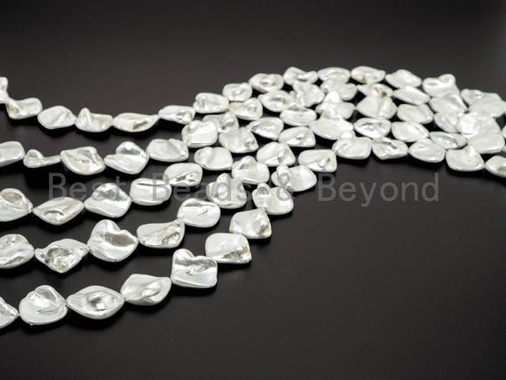 Quality Natural Mother of Pearl beads, 15-21mm,White Irregular Shape Plated Pearl Shell Beads, 16inch strand, SKU#T108
