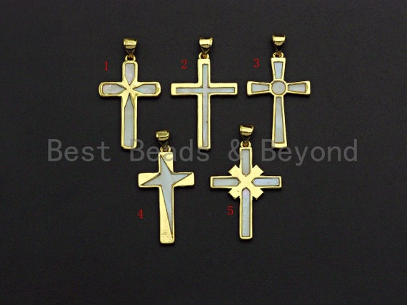 PRESELLING Gold Cross Pendant with Mother of Pearl, Pearl Shell Charm, Religious Charm,18x26mm,SKU#F1085