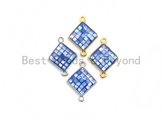 100% Natural Shell Blue Diamond Connector with Gold/Silver Plated Edging, Natural Shell Charms, Sea Shell Beads, 14x18mm,SKU#Z284