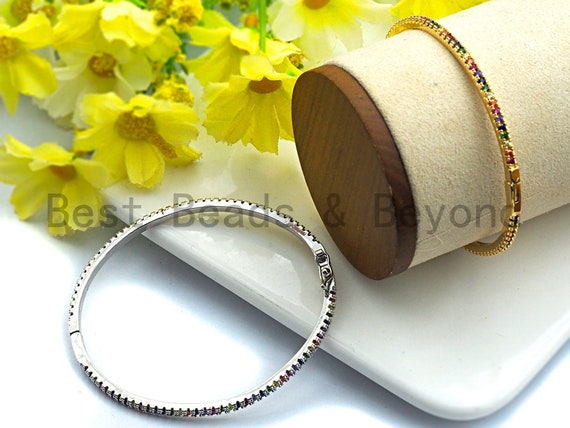 PRE-SELLING Colorful CZ Micro Pave Rainbow Thin Bangle Bracelet, Gold/Silver Thin Bracelet, Minimal Bracelet,3x54x60mm,sku#X41