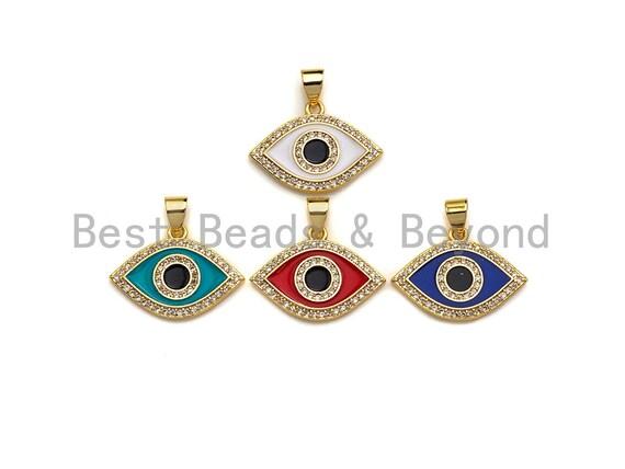 Enamel Colorful Evil Eye Pendant, CZ Micro Pave Oil Drop pendant,Enamel pendant,Enamel Jewelry, 15x21mm, sku#F1049